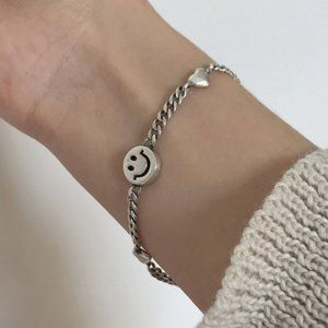 *NEW 925 Sterling Silver Smiley Face Bracelet